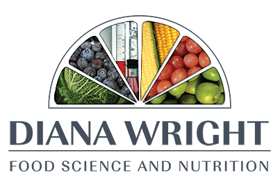 Graphic image showing the Diana Wright Food Science and Nutrition logo designed by Creatif Design