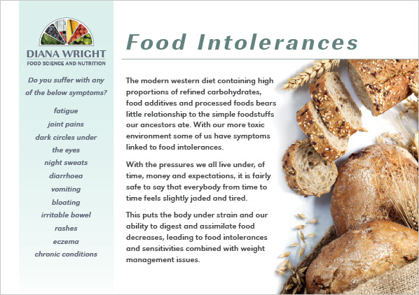 Graphic image showing page 1 of a flyer design for Diana Wright Food Science and Nutrition created by Creatif Design