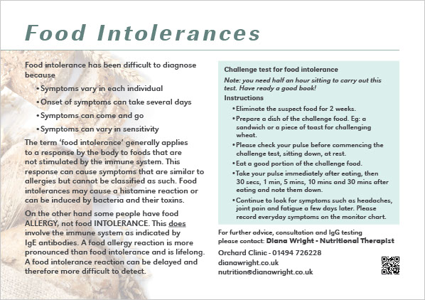 Graphic image showing page 2 of a flyer design for Diana Wright Food Science and Nutrition created by Creatif Design