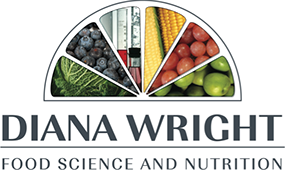 Graphic image displaying logo work created by Creatif Design for Diana Wright Food Science and Nutrition