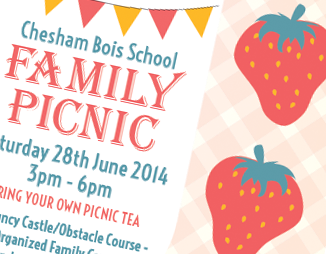 Graphic image displaying poster work created by Creatif Design for Chesham Bois School Parent Teacher Association