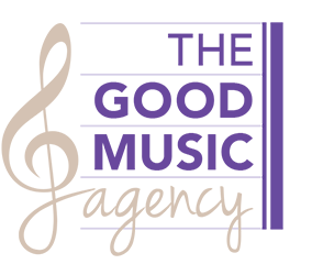 Graphic image showing the Good Music Agency logo designed by Creatif Design